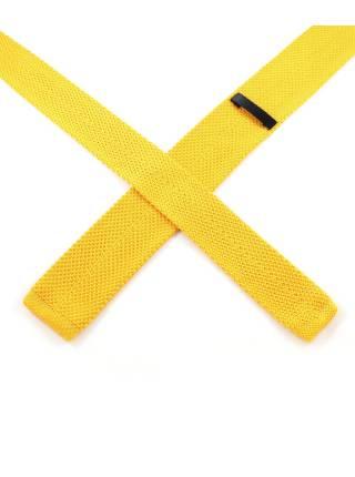 Вязаный галстук желтого цвета однотонный
