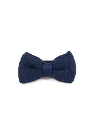 Вязаный галстук-бабочка синего цвета однотонный