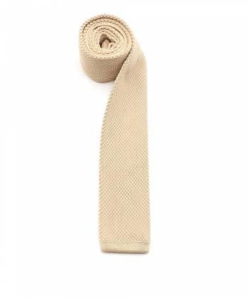 Вязаный галстук бежевый однотонный