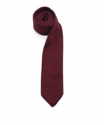 Вязаный галстук бордового цвета меланж