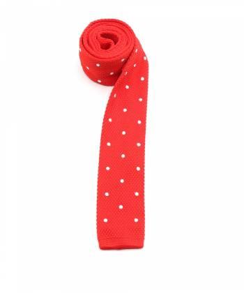 Вязаный галстук красного цвета в крупный белый горох