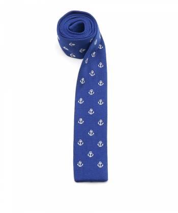Вязаный галстук синего цвета с рисунком Якорь