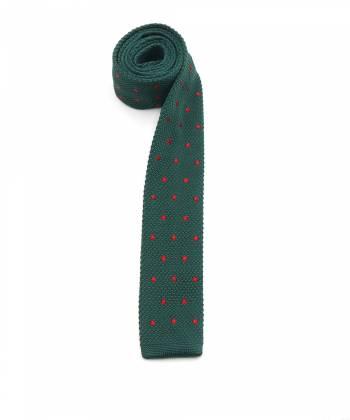 Вязаный галстук тёмно-зелёного цвета в крупный красный горошек