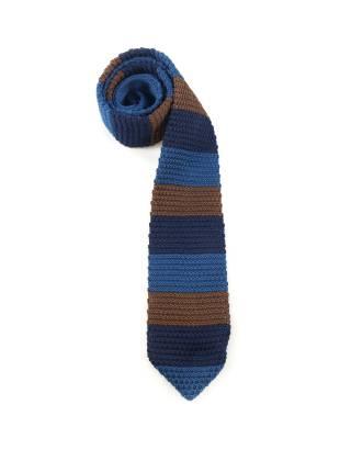 Вязаный галстук в полоску коричневого, темно-синего и голубого цвета