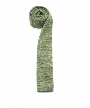 Вязаный галстук зелёного цвета меланж