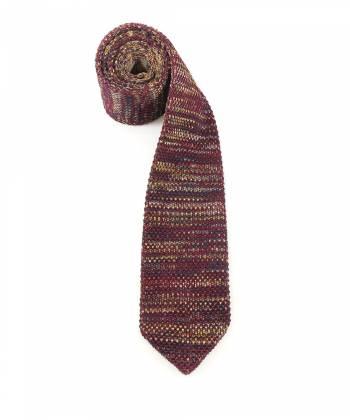 Вязаный галстук желто-бордового цвета меланж