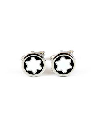 Запонки для рубашки Белая шестиконечная звезда