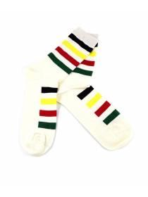 Бежевые носки с разноцветными полосками