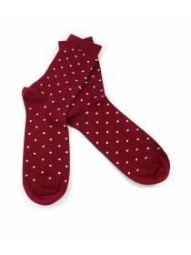 Бордовые носки в белый горошек