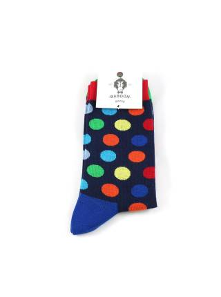 Черные носки с разноцветным горошком