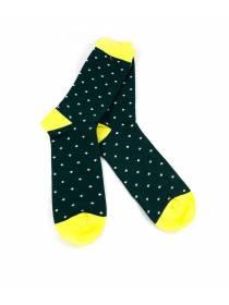 Темно-зеленые носки в белый горошек
