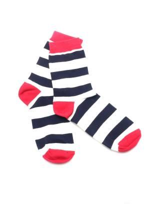 Черно-белые носки с красным мыском и пяткой