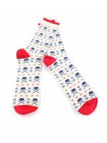 Мужские носки белые с рисунком череп и красными вставками