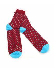 Мужские носки бордовые в голубой горох и голубыми вставками