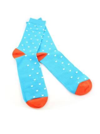 Мужские носки голубые в белый квадрат и оранжевыми вставками