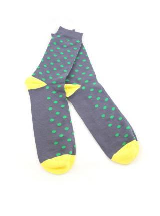 Мужские носки серые в зеленый горох с желтыми вставками