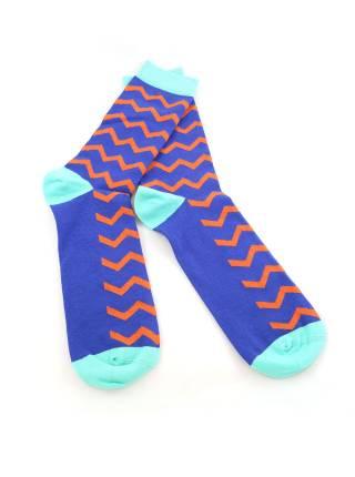 Мужские носки синие с оранжевым рисунком и голубыми вставками