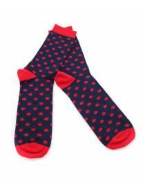 Мужские носки темно-синие в красный горох и красными вставками