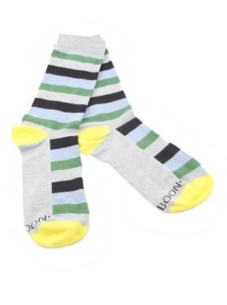 Серые мужские носки в сине-зеленую полоску