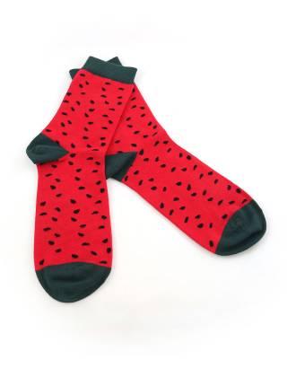 Стильные носки красные с рисунком арбуз