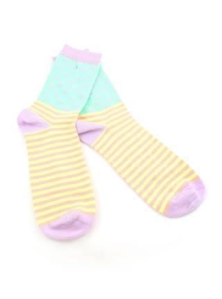 Стильные носки полосатые розовые с желтым и зеленая вставка