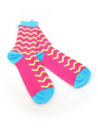 Стильные носки розовые с желтым рисунком и синими вставками