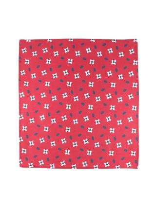 Нагрудный платок красный с рисунком цветка из хлопка