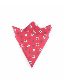 Нагрудный платок красный с рисунком Белые цветы из хлопка