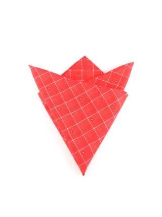Нагрудный платок красный в белую клетку из хлопка