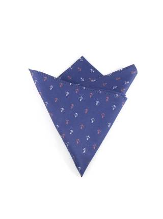 Нагрудный платок синий с рисунком якоря из хлопка