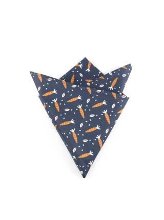 Нагрудный платок темно-синего цвета с морковкой из хлопка