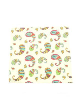 Нагрудный платок бежевый с рисунком Пейсли из хлопка