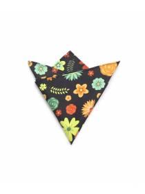 Нагрудный платок черного цвета с рисунком Большие цветы из хлопка
