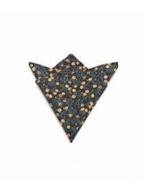Нагрудный платок черный с рисунком Желтые розы из хлопка