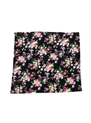 Нагрудный платок черный в цветах из хлопка