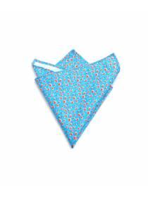 Нагрудный платок голубого цвета в розовый цветочек из хлопка