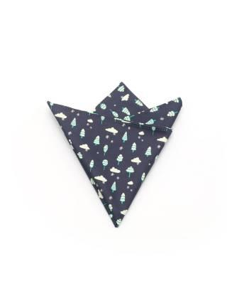 Нагрудный платок темно-синий с рисунком Зимний из хлопка