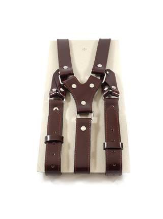 Кожаные подтяжки для штанов темно-коричневые с пуговицами