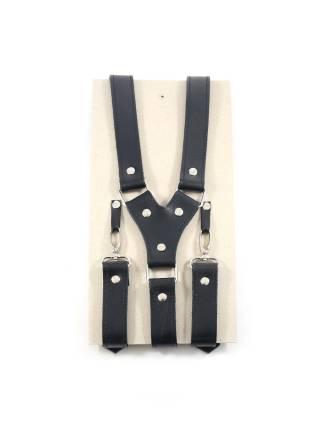 Кожаные подтяжки для штанов черные с карабинами