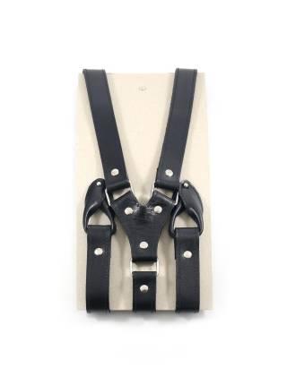 Кожаные подтяжки для штанов черные с пуговицами