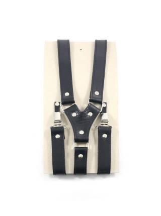 Кожаные подтяжки для штанов черные с зажимами