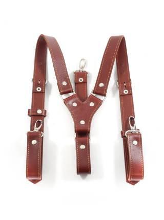 Кожаные подтяжки для штанов коричневые с карабинами