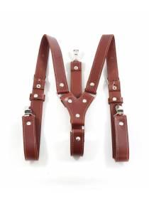 Кожаные подтяжки для штанов коричневые с зажимами