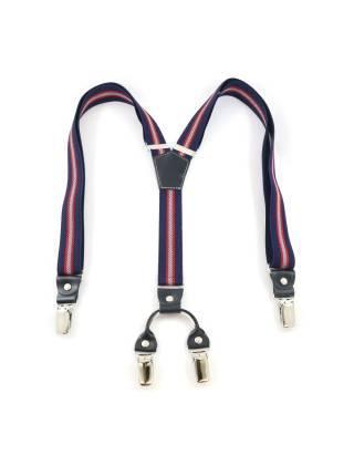 Подтяжки для брюк темно-синего цвета с красно-белыми полосками