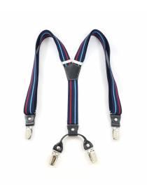 Подтяжки для брюк темно-синего цвета с голубой и красной полосками