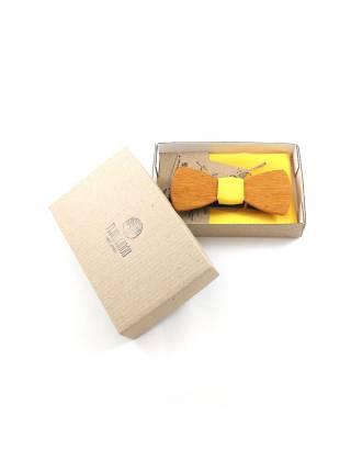 Деревянный галстук-бабочка Александр Классик с желтым платком