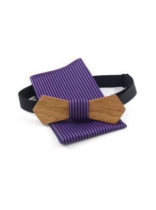 Деревянный галстук-бабочка Артем Retro с нагрудным платком