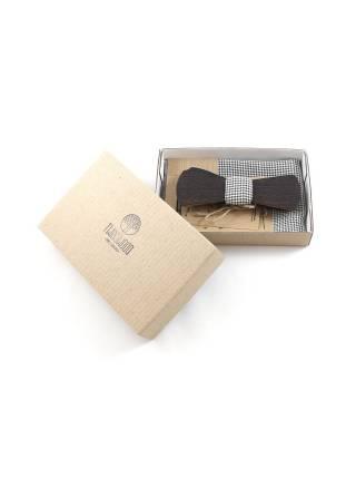 Деревянный галстук-бабочка из дерева венге Линкольн Slim с платком гусиные лапки