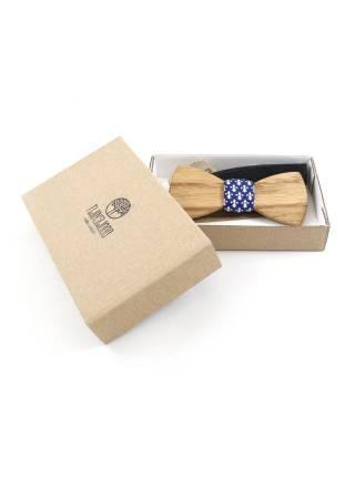 Деревянный галстук-бабочка из хлопка синего цвета с принтом геральдическая лилия