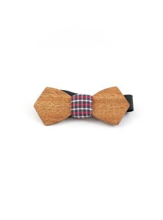 Деревянный галстук-бабочка из массива африканской тиамы с вставкой из льна в клетку